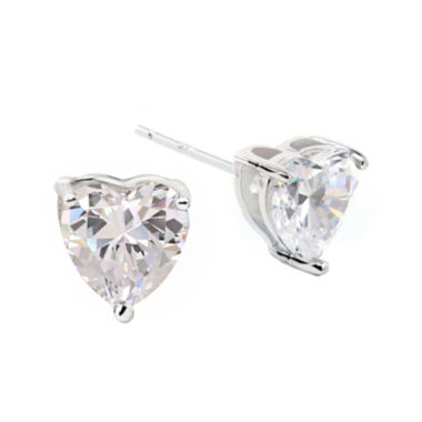 jcpenney.com | DiamonArt® Sterling Silver Heart Cubic Zirconia Stud Earrings