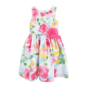Marmellata Floral Shantung Dress - Preschool Girls 4-6x