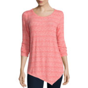 St. John's Bay® 3/4-Sleeve Textured Asymmetric Tunic