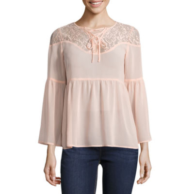Decree Lace Up Babydoll Top - Juniors
