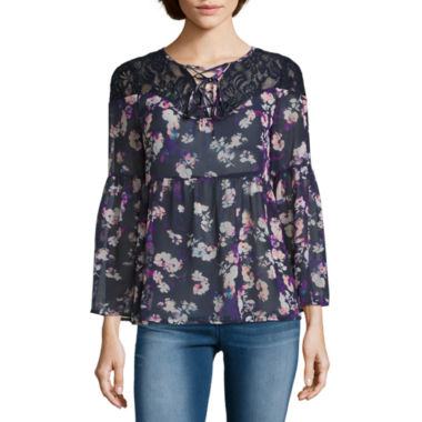 jcpenney.com | Decree Lace Up Babydoll Top - Juniors