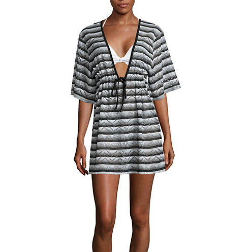 a.n.a Stripe Crochet Swimsuit Cover-Up Dress