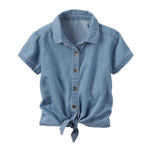 Carter's Short Sleeve Button-Front Shirt Girls