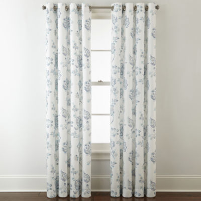 JCPenney Home Quinn Jacobean Grommet-Top Curtain Panel