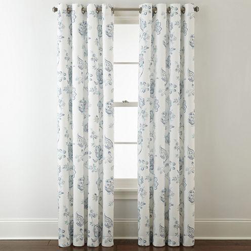 Jcpenney Home Quinn Jacobean Grommet Top Curtain Panel