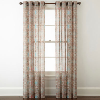 JCPenney Home Batiste Paisley Grommet Top Sheer Curtain Panel