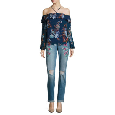 jcpenney.com | Belle + Sky Long Sleeve Halter Ruffle Top or Embroidered Boyfriend Jeans