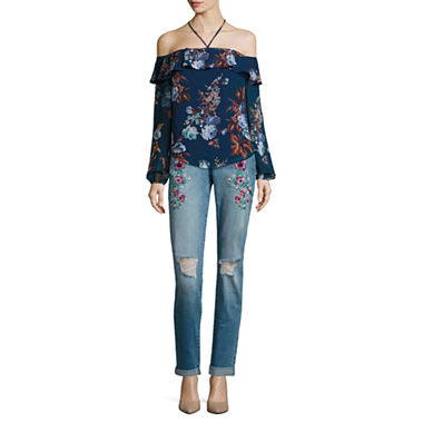 Belle   Sky Long Sleeve Halter Ruffle Top or Embroidered Boyfriend ...