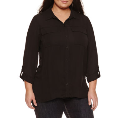 jcpenney.com | Boutique + 3/4 Sleeve Button-Front Shirt-Plus