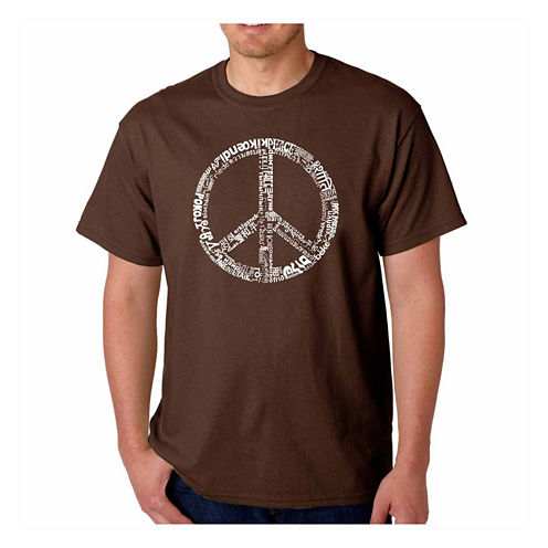 Los Angeles Pop Art Word Peace  Short Sleeve Crew Neck T-Shirt-Big And Tall