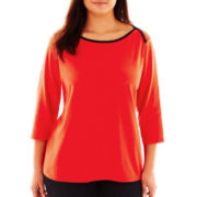jcp™ Envelope-Shoulder Tee - Plus