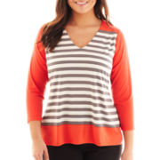 Worthington® 3/4-Sleeve Striped V-Neck Knit Top