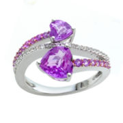 Lab-Created Pink and White Sapphire Double Heart Ring