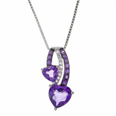 jcpenney.com | Lab-Created Amethyst and White Sapphire Double Heart Pendant Necklace