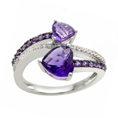 jcpenney.com | Sterling Silver Genuine Amethyst & Lab Created White Sapphire Shades Double Heart Ring
