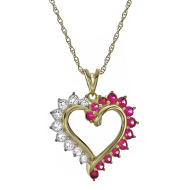 jcpenney.com | Lab-Created Ruby and White Sapphire Heart Pendant Necklace