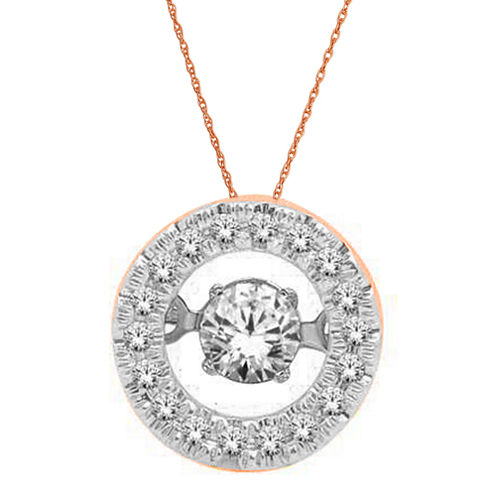 Love in Motion™ 1/4 CT. T.W. Diamond 10K Rose Gold Round Pendant Necklace