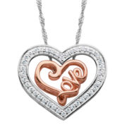 Cubic Zirconia Heart & Rose Gold Over Silver Love 3-In-1 Pendant Necklace