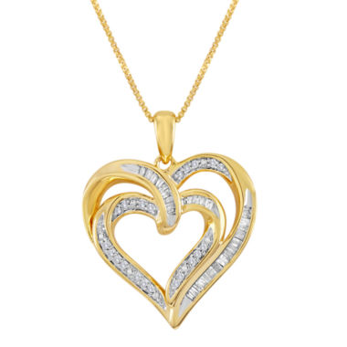 jcpenney.com | 1/4 CT. T.W. Diamond 14K Yellow Gold Over Sterling Silver Double-Heart Pendant