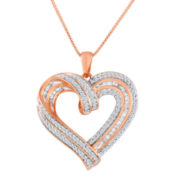 1/2 CT. T.W. Diamond 14K Rose Gold Over Sterling Silver Heart Pendant Necklace