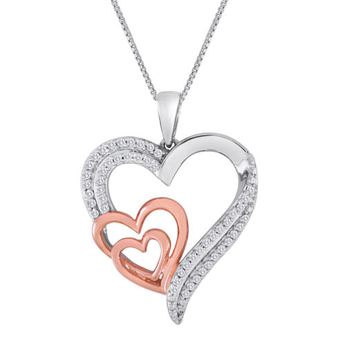 ForeverMine® 1/4 CT. T.W. Diamond Two-Tone Triple-Heart Pendant Necklace