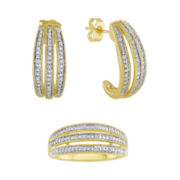1/10 CT. T.W. Diamond Ring and Hoop Earring Set