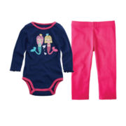 Okie Dokie® Long-Sleeve Bodysuit or Leggings – Girls newborn-24m