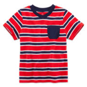 Okie Dokie® Short-Sleeve Striped V-Neck Tee – Boys 2t-5t