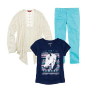Arizona Graphic Tee, Cardigan or Colored Crop Pants – Girls 7-16 and Plus