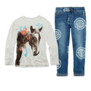 Arizona Long-Sleeve Graphic Tee or Crop Print Pants – Girls 7-16 and Plus