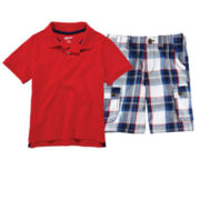 Arizona Short-Sleeve Polo or Plaid Cargo Shorts – Boys 4-7