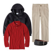 IZOD® Long-Sleeve Polo, Twill Pants, Belt or Columbia® Hoodie – Boys