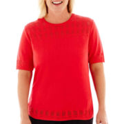 Alfred Dunner® Play On Color Short-Sleeve Solid Textured Sweater Shell - Plus