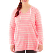 City Streets® Long-Sleeve Hooded Pullover Tunic - Plus