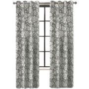 Colordrift Penelope Faux Silk Grommet-Top Curtain Panel