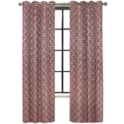 Colordrift Santana Flocked Grommet-Top Curtain Panel