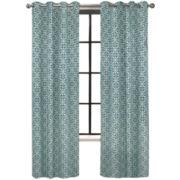 Colordrift Santana Flocked Grommet-Top Curtain Panel