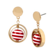 Bleu™ Gold-Tone Red Stripe Ball Drop Earrings