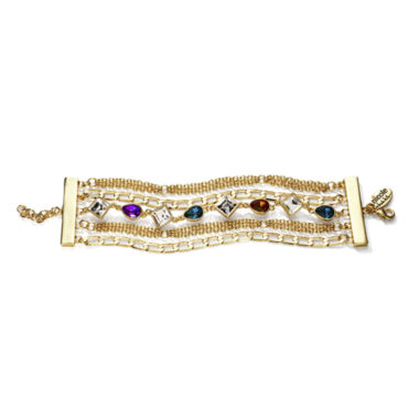 jcpenney.com | nicole by Nicole Miller® Multicolor Crystal Chain Bracelet