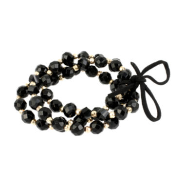 jcpenney.com | Mixit™ Black 3-Row Bead Stretch Bracelet