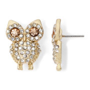 Decree® Crystal Owl Stud Earrings