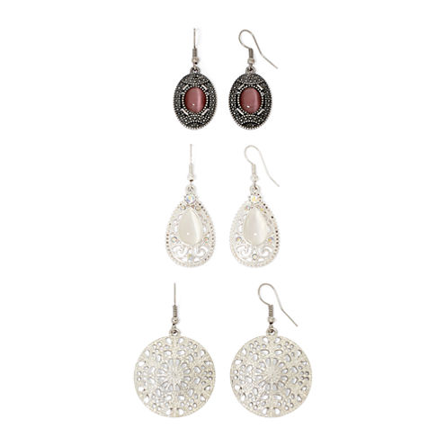 Arizona Silver-Tone 3-pr. Earring Set