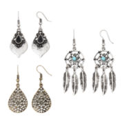 Arizona Two-Tone Teardrop 3-pr. Earring Set