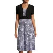 Perceptions Short-Sleeve Paisley Print Jacket Dress