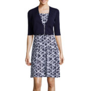 Perceptions Elbow-Sleeve Abstract Print Jacket Dress