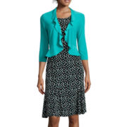 Danny & Nicole® 3/4-Sleeve Dot Print Jacket Dress