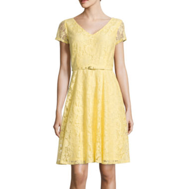 jcpenney.com | Danny & Nicole® Short-Sleeve Lace Fit-and-Flare Dress