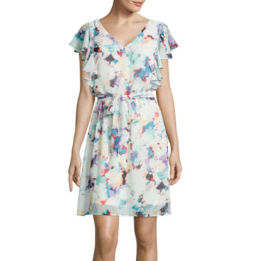 jcpenney.com | Signature by Sangria Flutter-Sleeve Floral Print Chiffon Dress