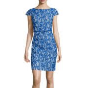 Alyx® Cap-Sleeve Lace Print Sheath Dress