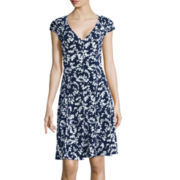 London Times Cap-Sleeve Floral Print A-Line Dress